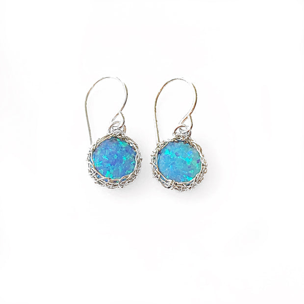 Sea Opal Dangle Earrings in Silver