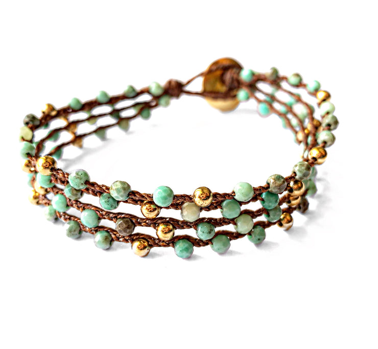 Chrysoprase 4 strand bracelet in gold