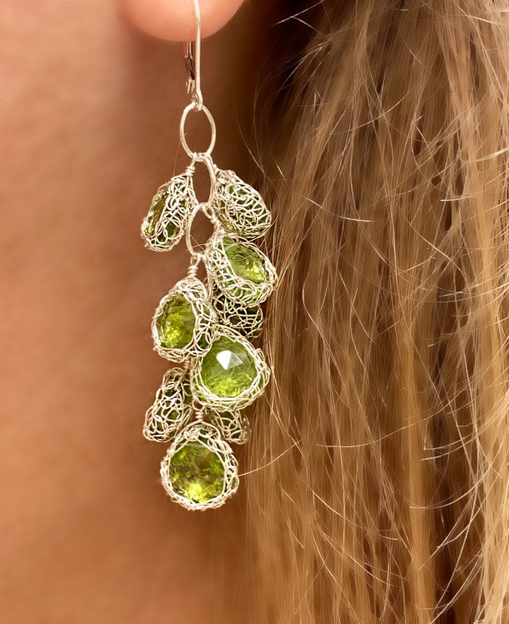 Peridot Cascade Earrings In Silver