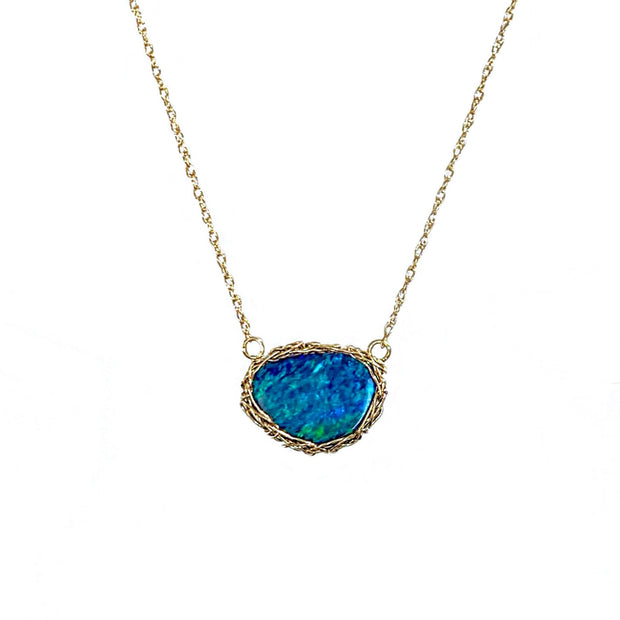 14 Karat Boulder Opal Ocean Necklace