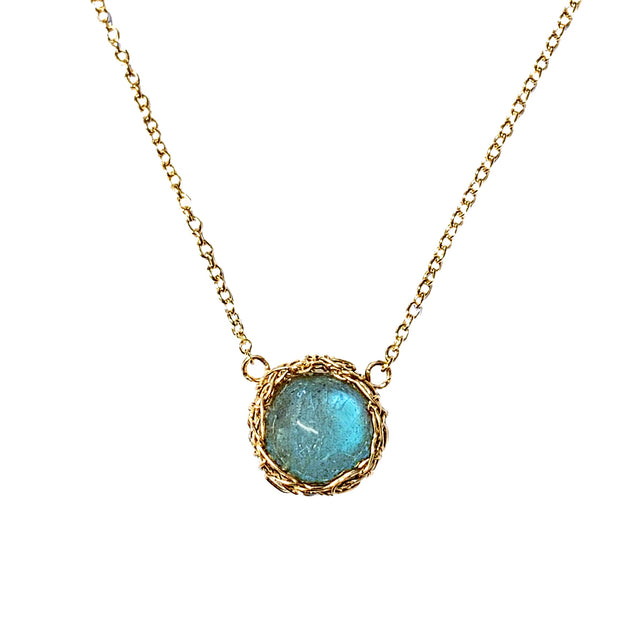 Labradorite Moon Necklace In Gold