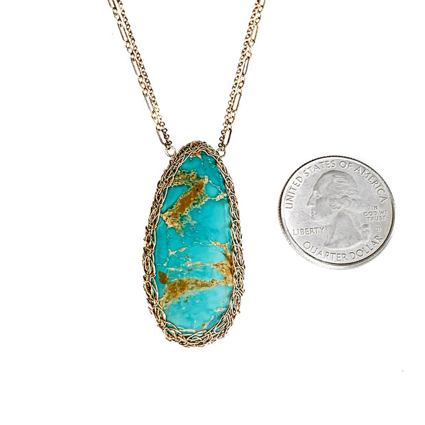 Royston Turquoise Teardrop Necklace In Gold