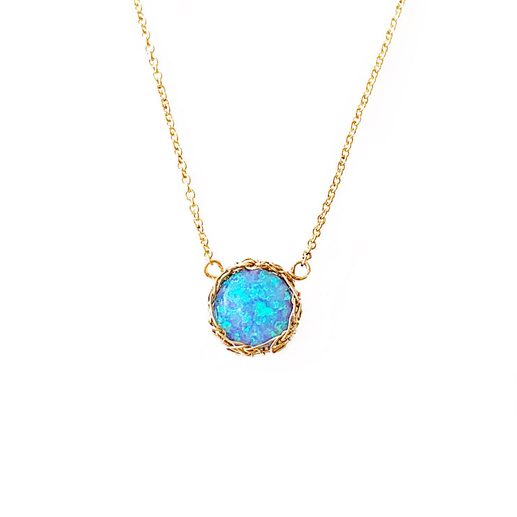 Sea Opal Round Necklace in Gold