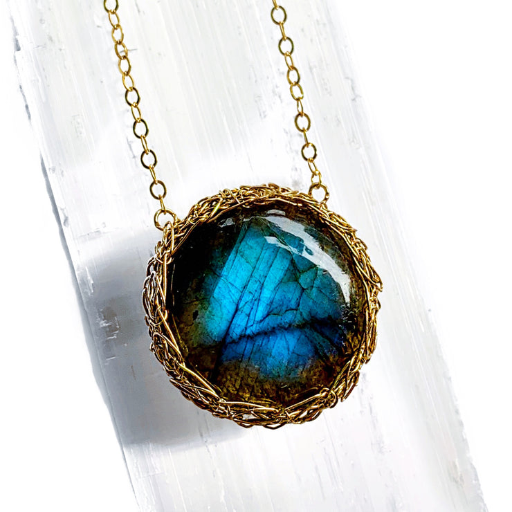 Labradorite New Moon Necklace In Gold