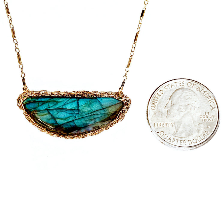 Labradorite Half Moon Necklace In Gold