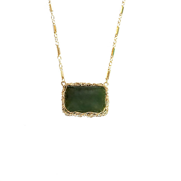 Big Sur Jade Horizon Necklace in Gold