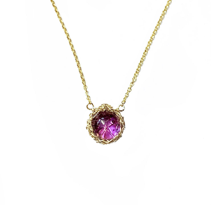 Amethyst Moon Necklace in Gold