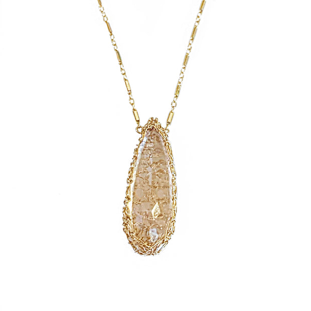 Morganite Long Teardrop Necklace in Gold