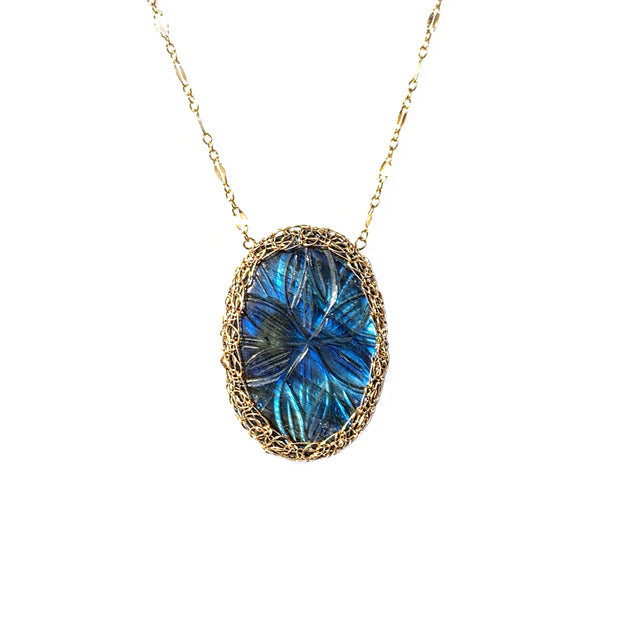 Carved Labradorite Necklace In Gold