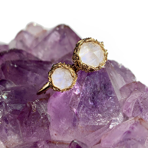 Moonstone Round Luna Ring in Gold