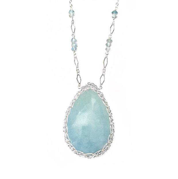 Aquamarine Large Teardrop Necklace in Silver