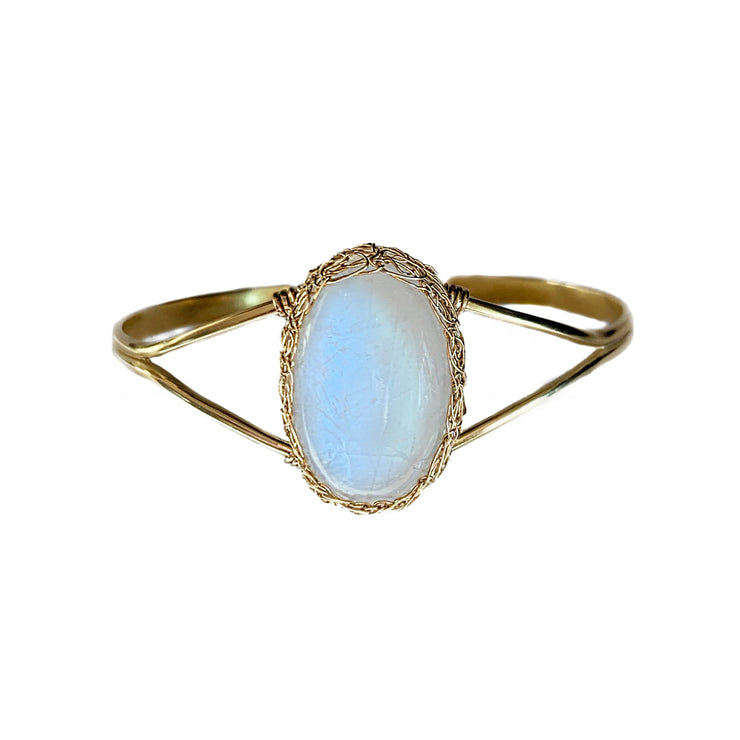 Moonstone Oval Cuff Bracelet in Gold