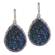 Medium Druzy Teardrop Earrings in Silver