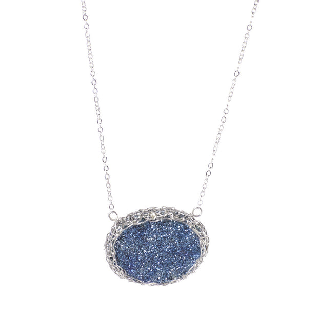 Medium Druzy Oval Necklace Silver