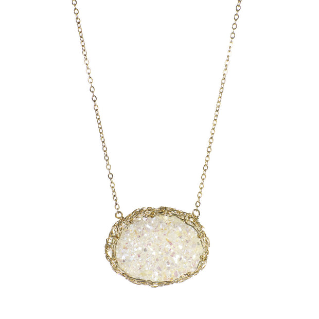 Medium Druzy Oval Necklace Gold