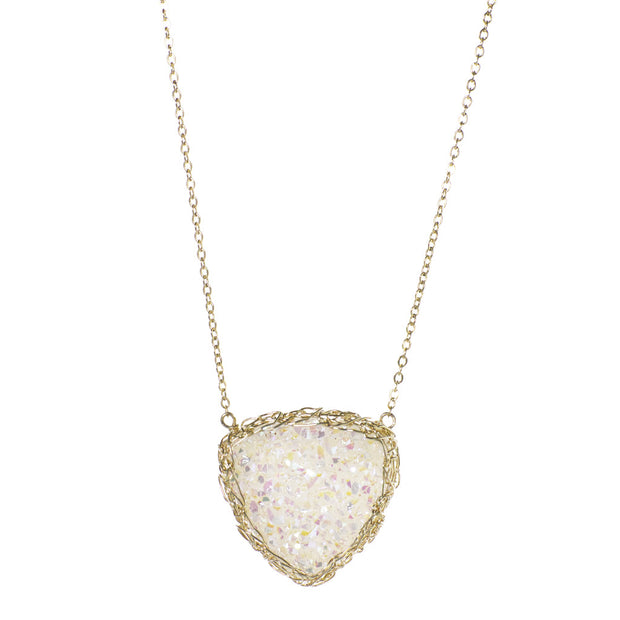 Medium Druzy Trillion Necklace Gold