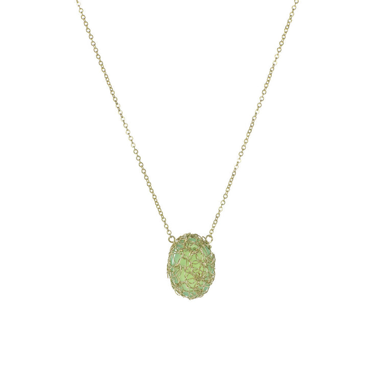 Small Gemstone Vertical Oval Necklace in Gold