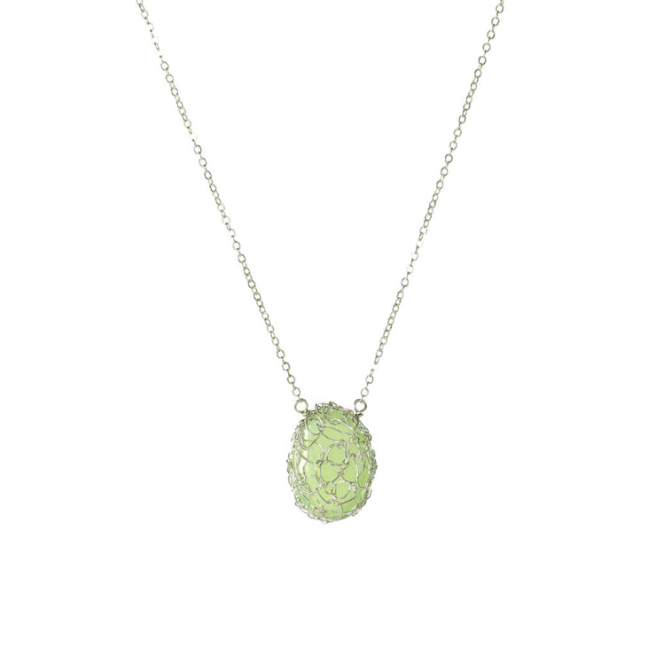 Small Gemstone Vertical Oval Necklace in Silver