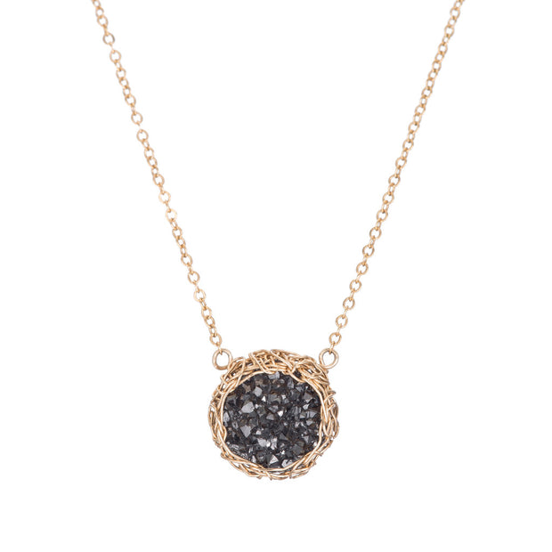 Small Druzy Round Necklace Gold