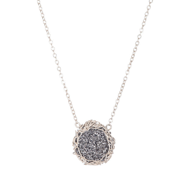 Small Druzy Round Necklace Silver