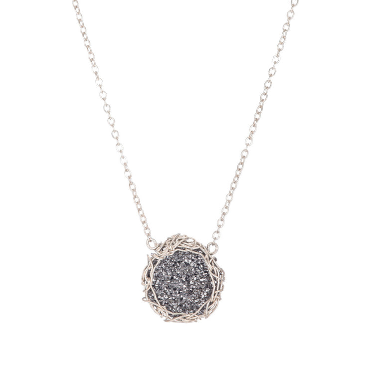 Dusty Black Small Round Druzy Necklace in Silver
