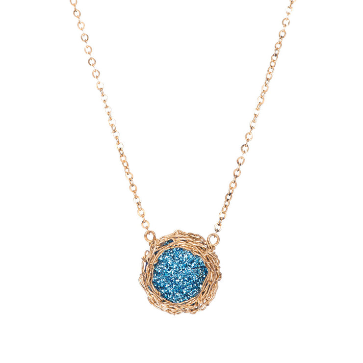 Cobalt Small Round Druzy Necklace in Gold
