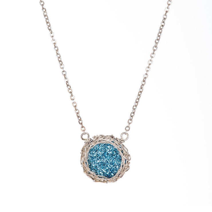 Cobalt Small Round Druzy Necklace in Silver