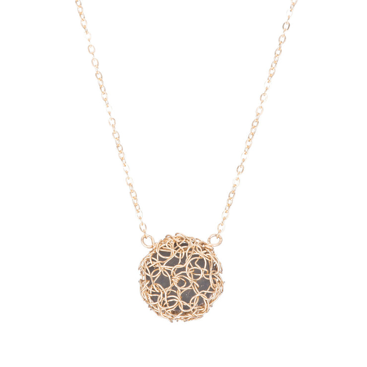 18kt Gold Small Round Druzy Necklace in Gold