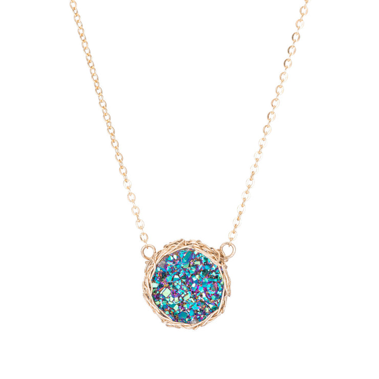 Rainbow Small Round Druzy Necklace in Gold