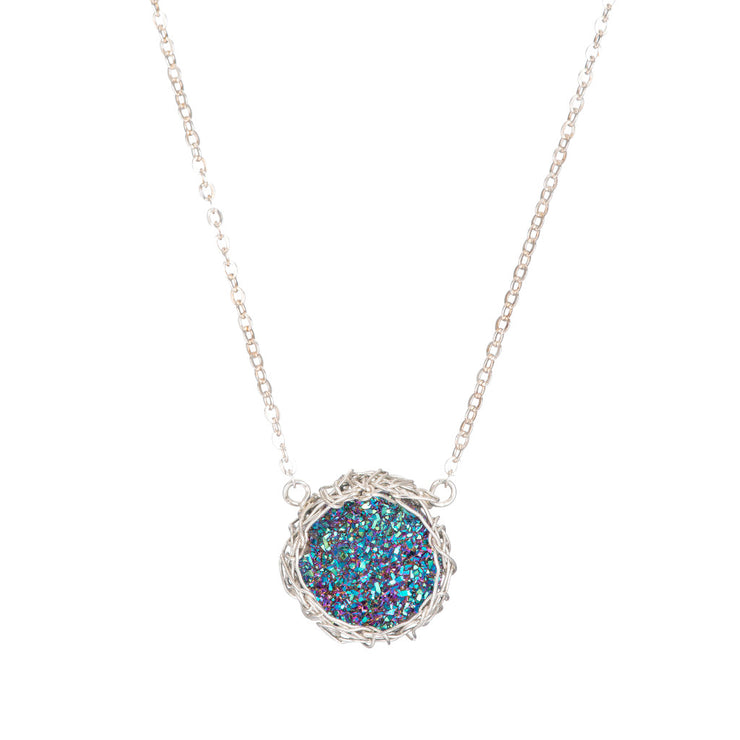 Rainbow Small Round Druzy Necklace in Silver