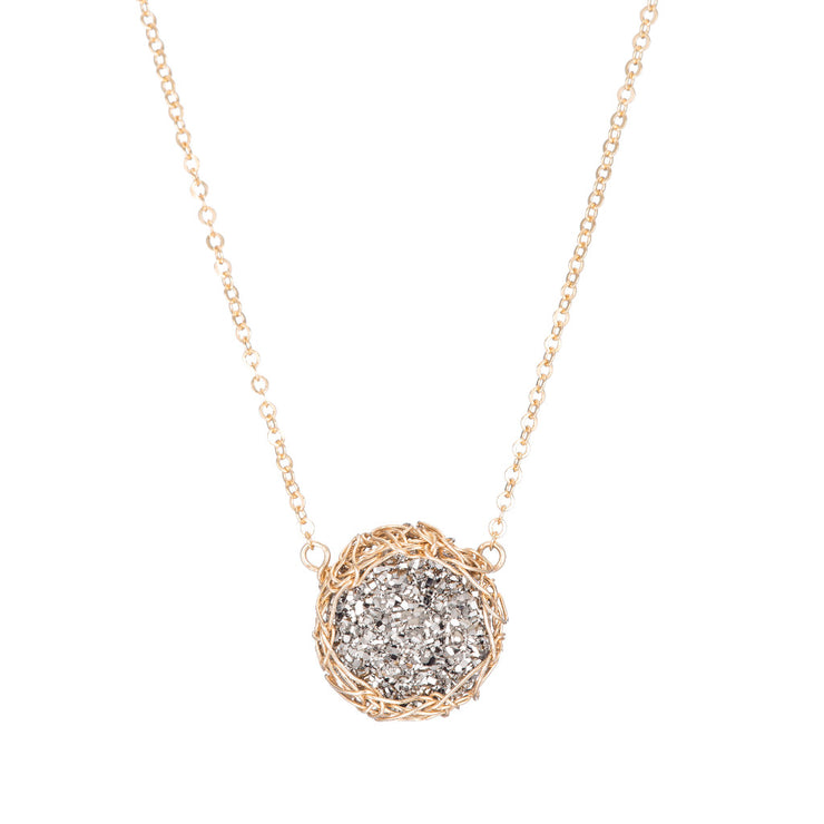Titanium Small Round Druzy Necklace in Gold