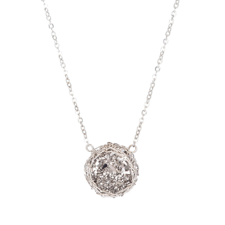 Titanium Small Round Druzy Necklace in Silver
