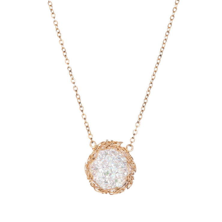 White Small Round Druzy Necklace in Gold