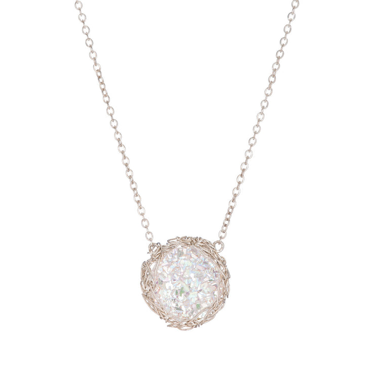 White Small Round Druzy Necklace in Silver