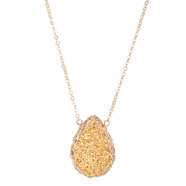 Small Druzy Teardrop Necklace Gold