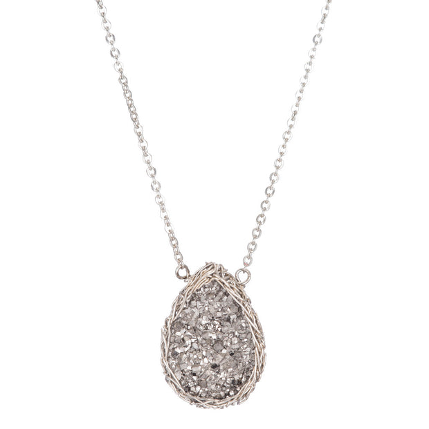 Small Druzy Teardrop Necklace Silver