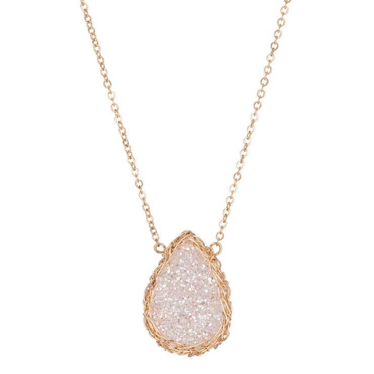 White Medium Teardrop Druzy Necklace in Gold