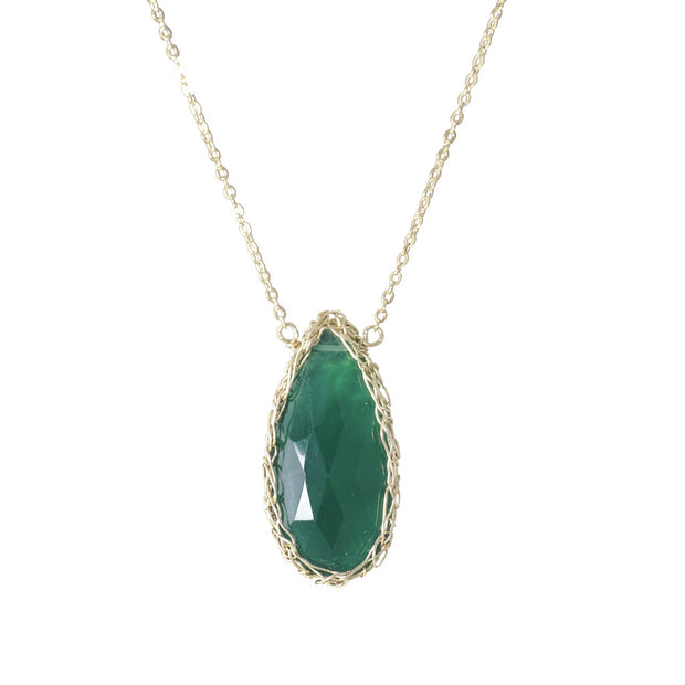 Long Gemstone Teardrop Necklace in Gold