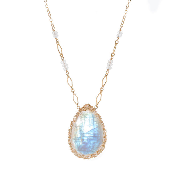 Large Moonstone Long Teardrop Necklace in Gold