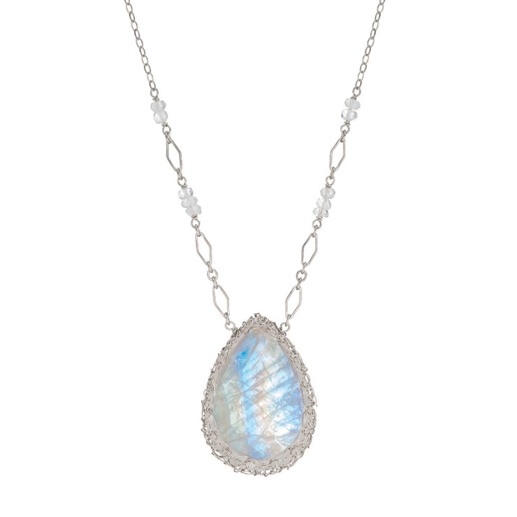 Large Moonstone Long Teardrop Necklace in Sterling Silver