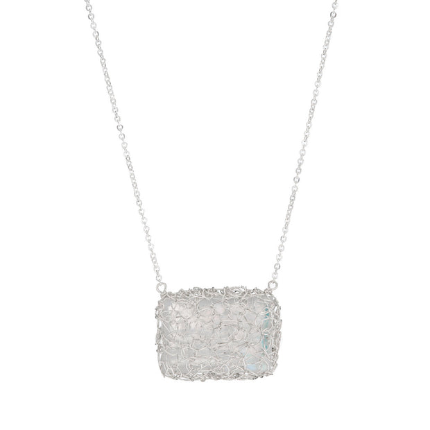 Moonstone Horizontal Rectangle necklace in Silver