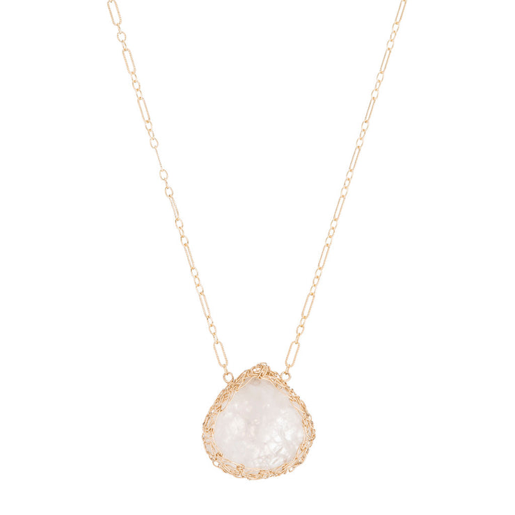 Moonstone Medium Teardrop Necklace in Gold