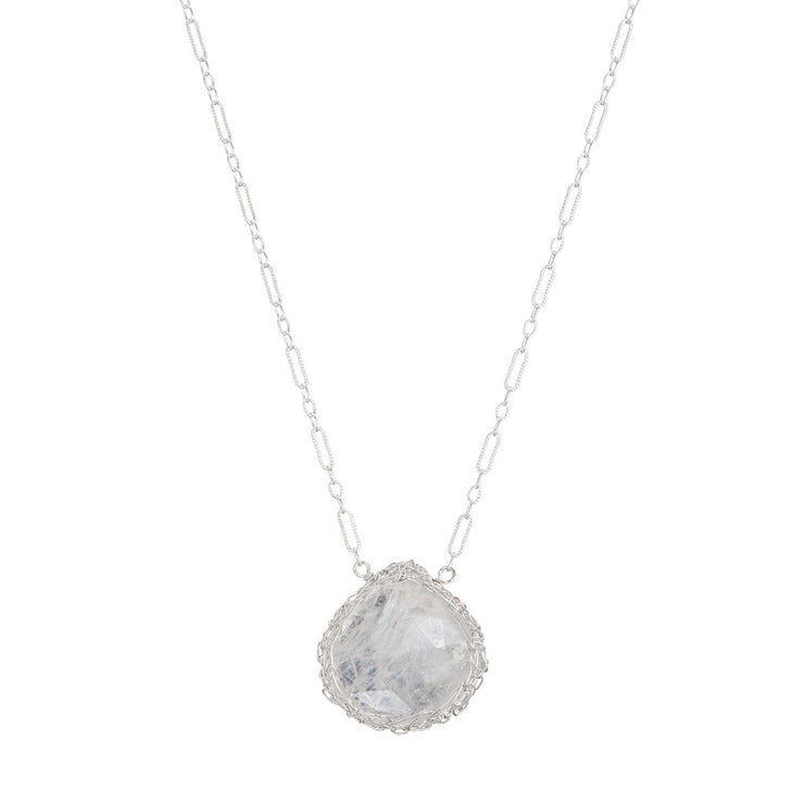 Moonstone Medium Teardrop Necklace in Sterling Silver