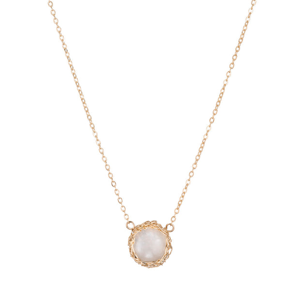 Moonstone Moon Necklace In Gold