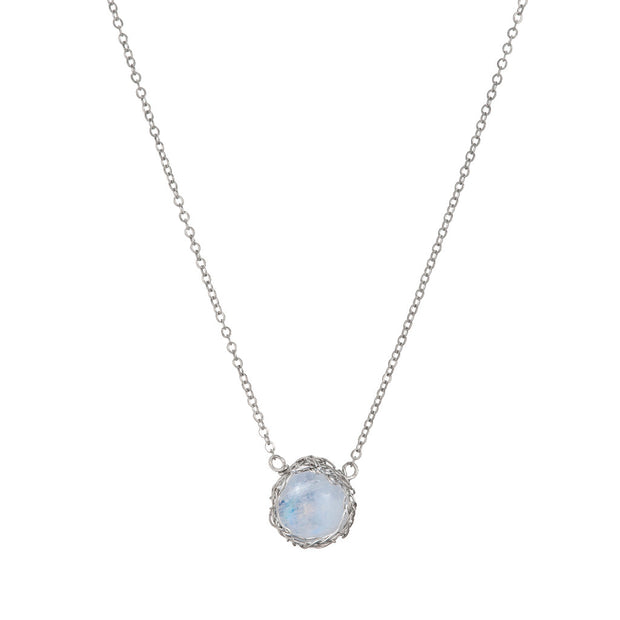 Small Gemstone Round Necklace in Sterling Silver