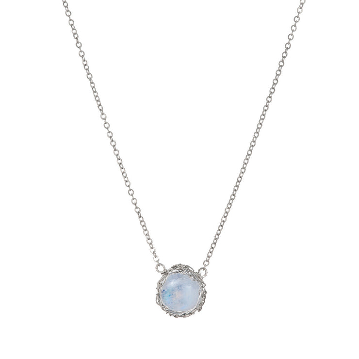 Moonstone Moon Necklace In Silver