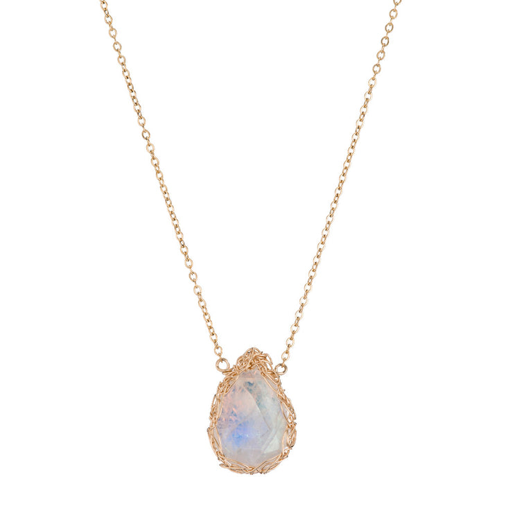 Small Moonstone Teardrop Necklace in Gold
