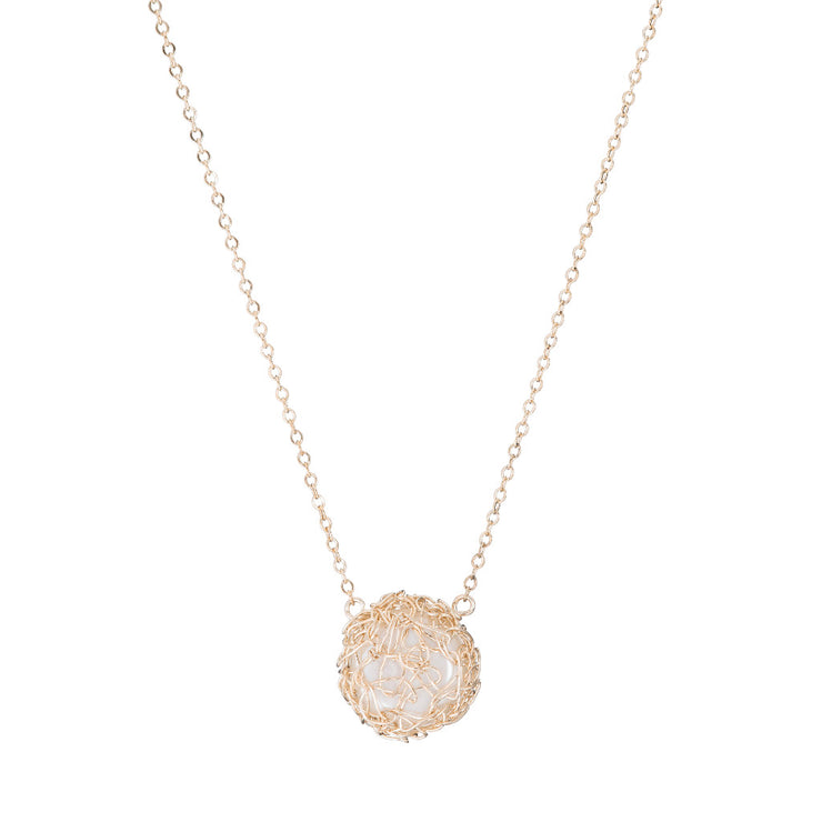 Small Pearl Round Necklace Gold