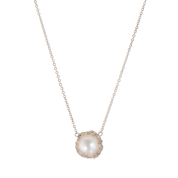 Small Pearl Round Necklace Silver