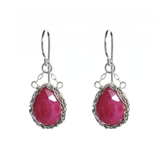 Ruby Teardrop Dangle Earrings in Silver